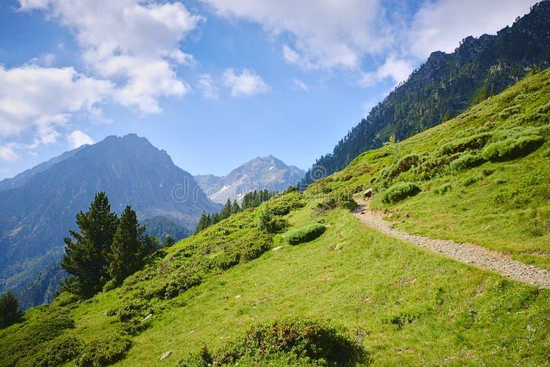 Schmaler Weg in den Bergen der Pyrenäen lizenzfreies stockfoto