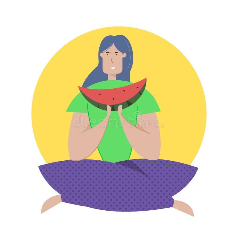 Schmecken der flachen Vektorillustration der Wassermelone Mädchen, der Urlauber, der in der Lotoshaltung sitzt, genießt saftigen  vektor abbildung