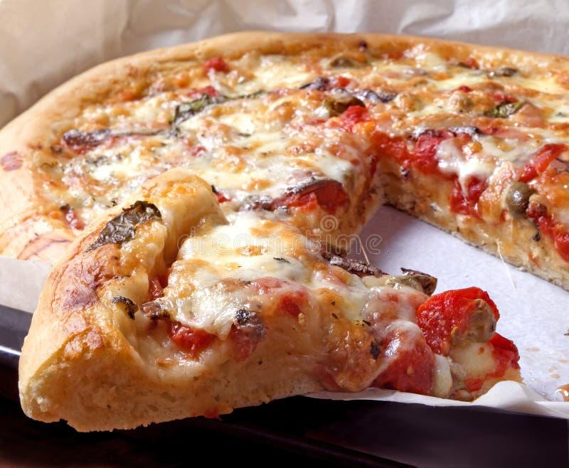 Schmecken der yummy Pizza stockbilder