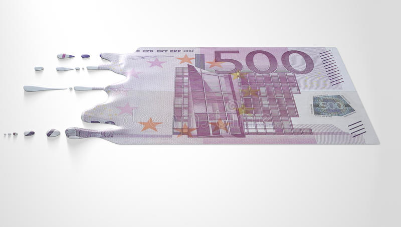 Schmelzende Bratenfett-Eurobanknote stockbilder