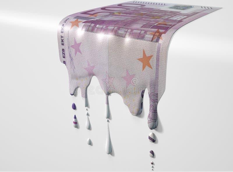 Schmelzende Bratenfett-Eurobanknote stockbild