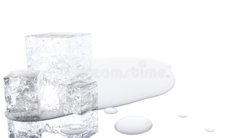 Schmelzende Illustration des Eis-Würfel-3D vektor abbildung