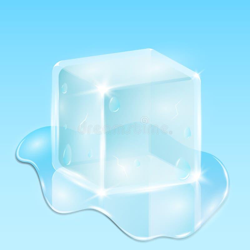 Schmelzender Eiswürfel auf einem hellblauen Hintergrund Ein Wassertropfen fließt vektor abbildung