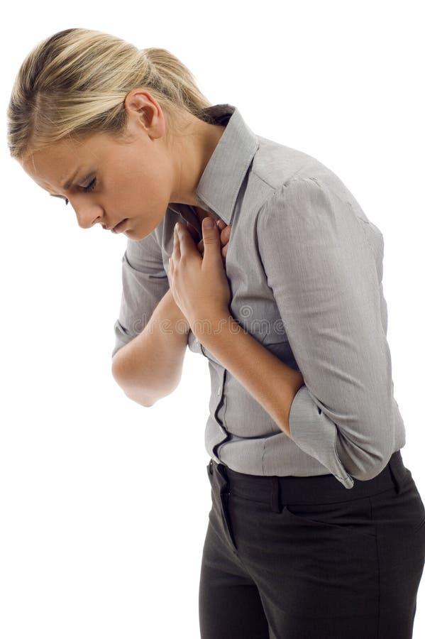 Schmerz in der Brust stockfoto