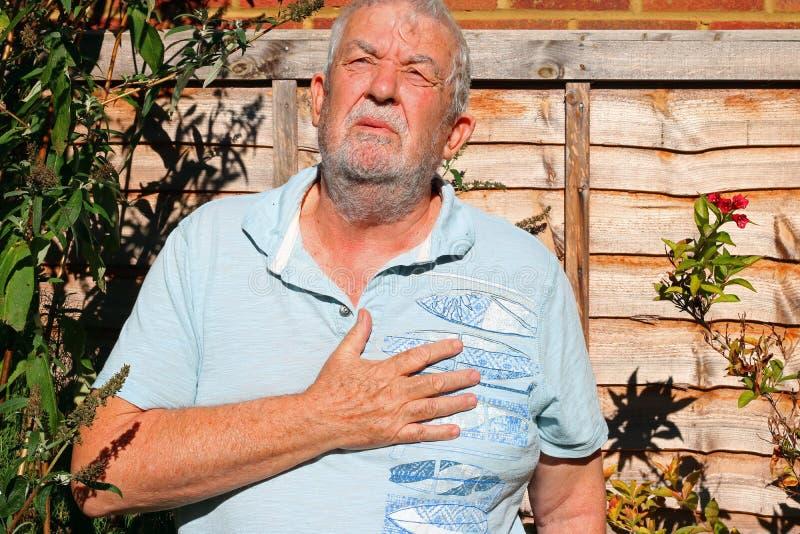 Schmerz in der Brust Mann hält für Inneres angina stockbilder