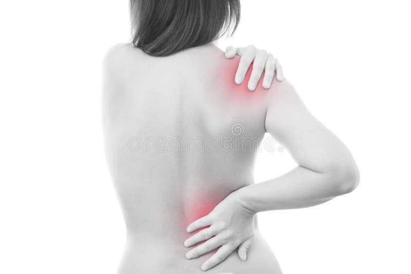 Schmerz in einem Körper der Frau stockfotos
