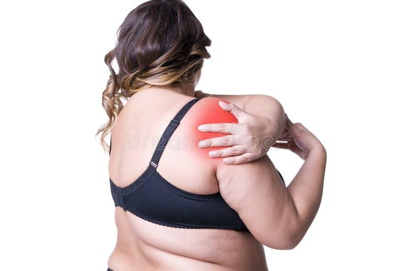 Schmerzen Sie in der Schulter, Sorgfalt von weiblichen Händen, Schmerz in Frau ` s Körper lizenzfreies stockbild