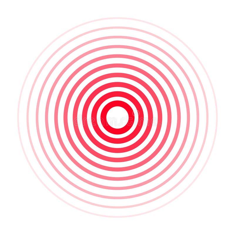 Schmerzkonzentrationsikone Rote trasparent Kreise, Symbol der Schmerzkonzentration für medizinisches Schmerzmittel mischt Drogen  stock abbildung