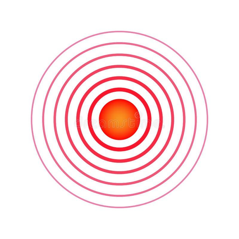 Schmerzkreis Rote Ringe Klopfende Schmerz des Symbols Medizinische Entwurfsikone Auch im corel abgehobenen Betrag stock abbildung