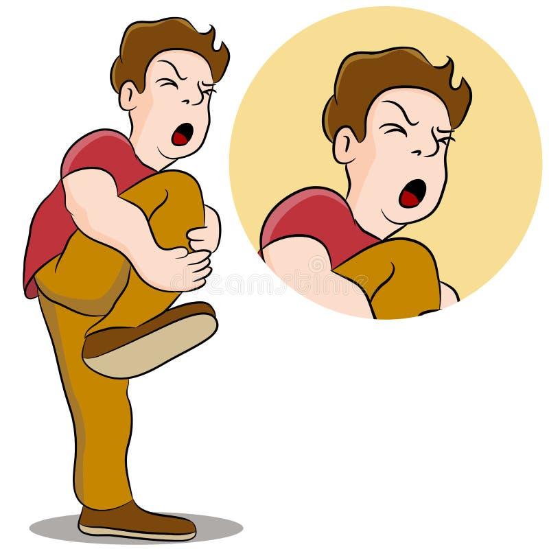 Schmerzlicher Fahrwerkbein-Verletzungs-Mann vektor abbildung