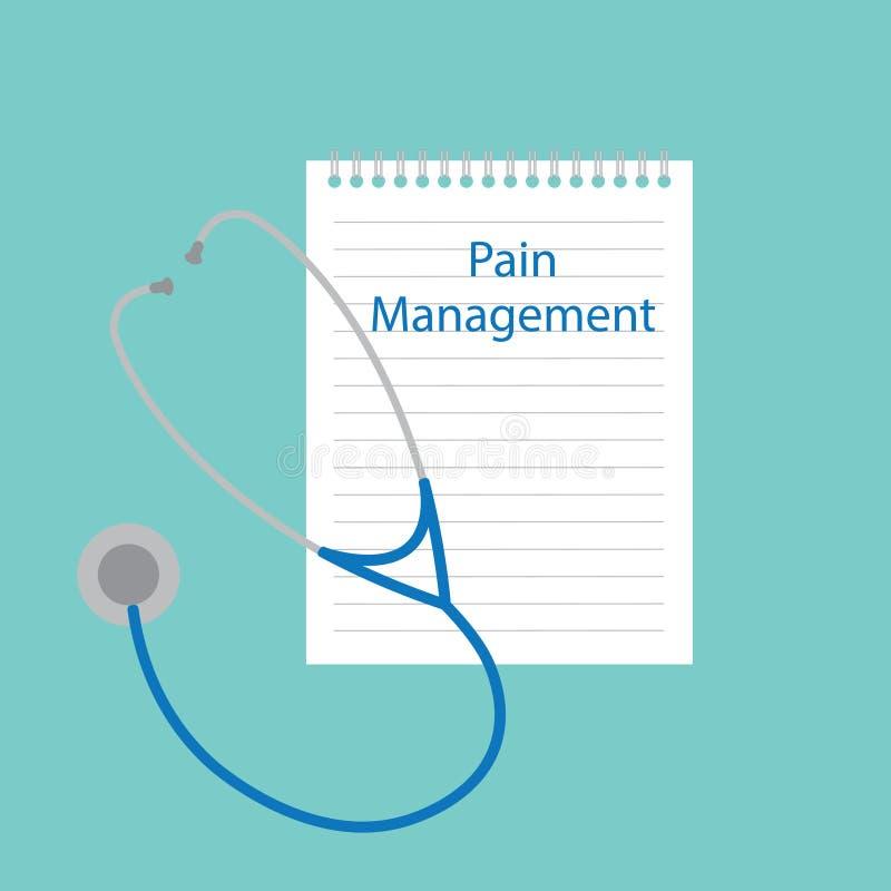 Schmerzmanagement geschrieben in Notizbuch lizenzfreie abbildung