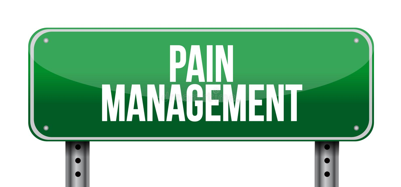 Schmerzmanagement-Verkehrsschildillustration stock abbildung