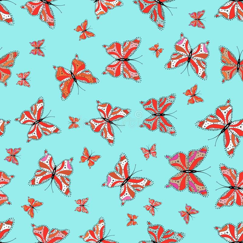 Schmetterling auf blauem, rotem und wei?em Hintergrund vektor abbildung