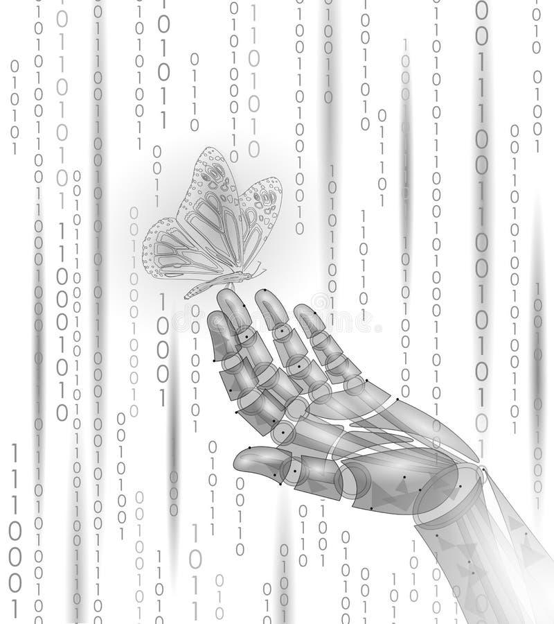 Schmetterling auf mechanischer Roboterfingerhand Natur-Kontrastkonzept der polygonalen geometrischen Innovationstechnologie futur lizenzfreie abbildung