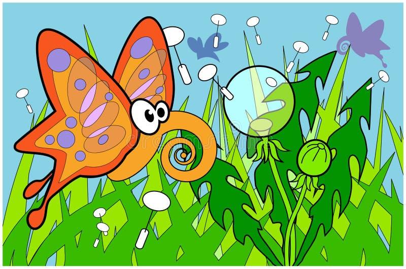 Schmetterling flyin über Gras mit Löwenzahn illustr vektor abbildung