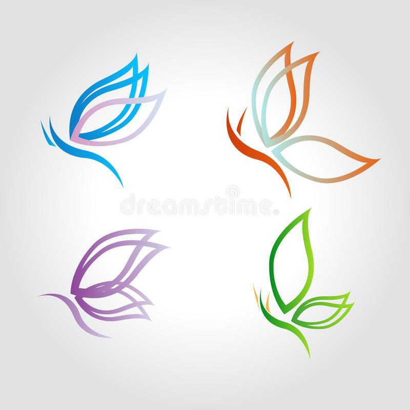 Schmetterling, Logo, Schönheit, Flügel, Satz, Vektorillustrationen stock abbildung