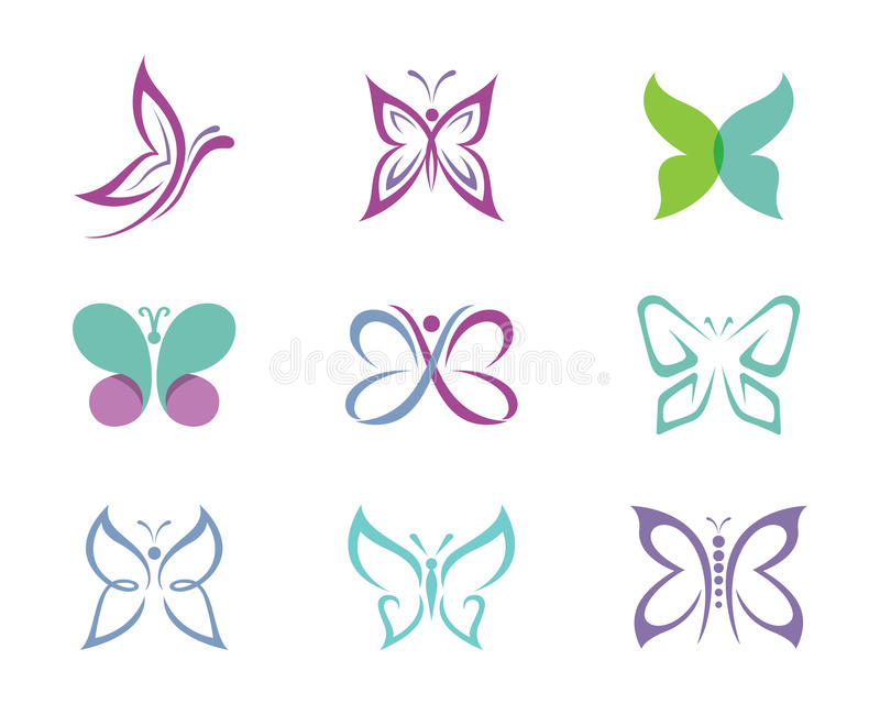 Schmetterling Logo Template stock abbildung