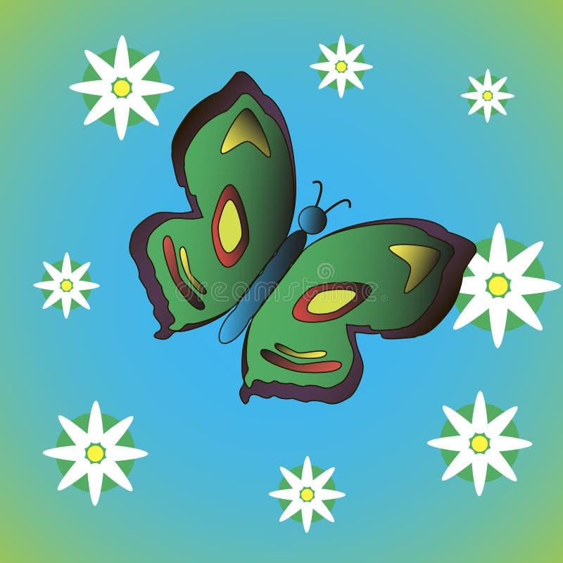 Schmetterling mit Blumen lizenzfreies stockfoto