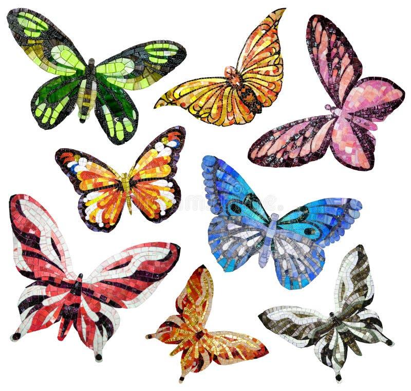 Schmetterling - Platten des Mosaiks. Lokalisiert auf einem weißen Hintergrund lizenzfreie abbildung