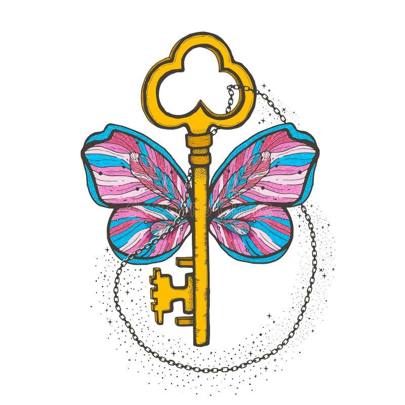 Schmetterling und Schlüsselmagieillustration Mystisches Symbol der Freiheit, geistige Suche, Flug, Reise Schönes Schmetterlingst- lizenzfreie abbildung