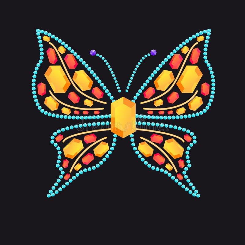 Schmetterling von den glänzenden farbigen Edelsteinen vektor abbildung