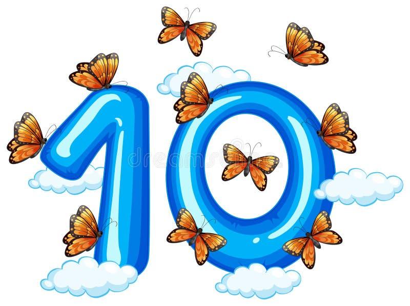Schmetterling zehn auf Himmel lizenzfreie abbildung