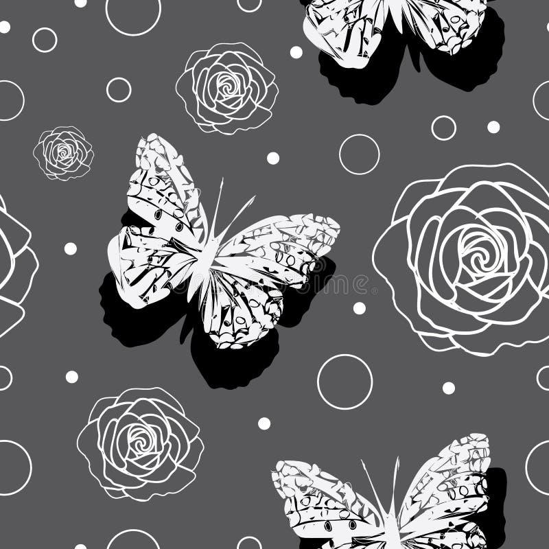 Schmetterlinge andRoses - Schmetterlings-Garten, nahtloses Wiederholungsmuster lizenzfreie abbildung