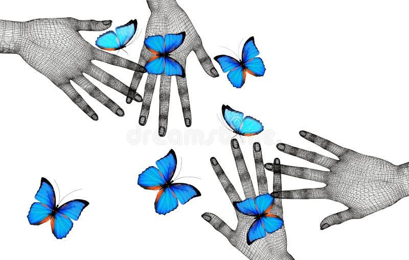 Schmetterlinge auf Frau ` s Händen Im Bewegungskonzept lokalisiert auf Whit stock abbildung