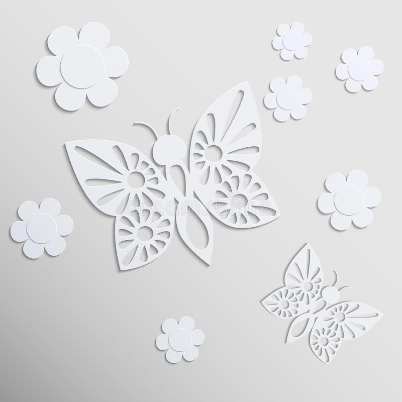 Schmetterlinge und Blumen. Papierhintergrund. lizenzfreie abbildung
