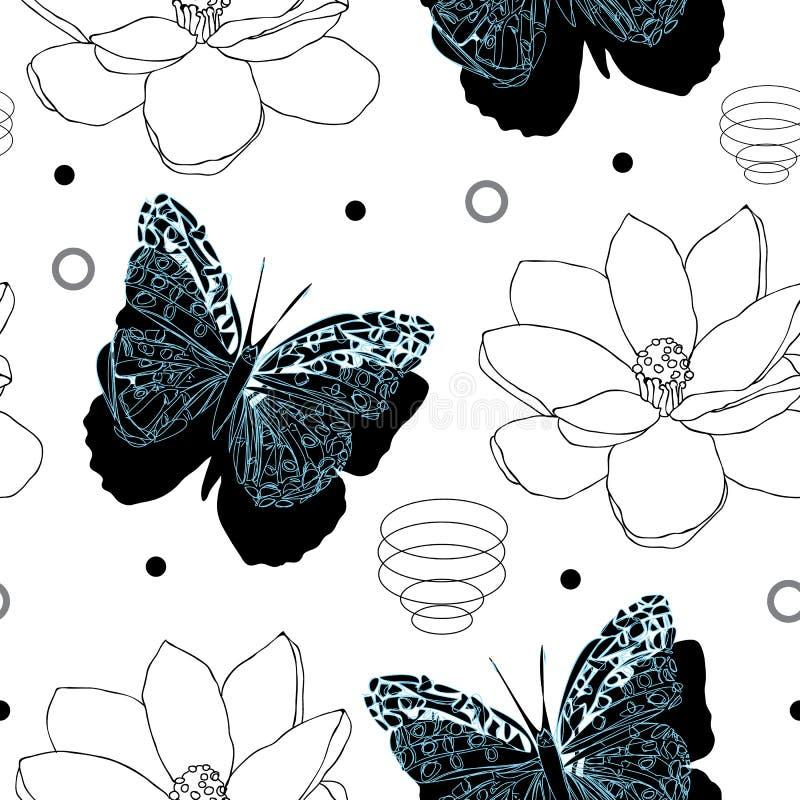 Schmetterlinge und Magnolien-Blume-Schmetterlings-Garten, nahtloses Wiederholungsmuster lizenzfreie abbildung