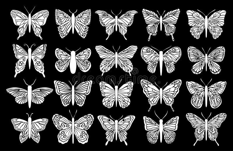 Schmetterlings-Schattenbildsatz des Entwurfs Schwarzes lokalisierter Grafischer Insektenausschnitt lizenzfreie abbildung