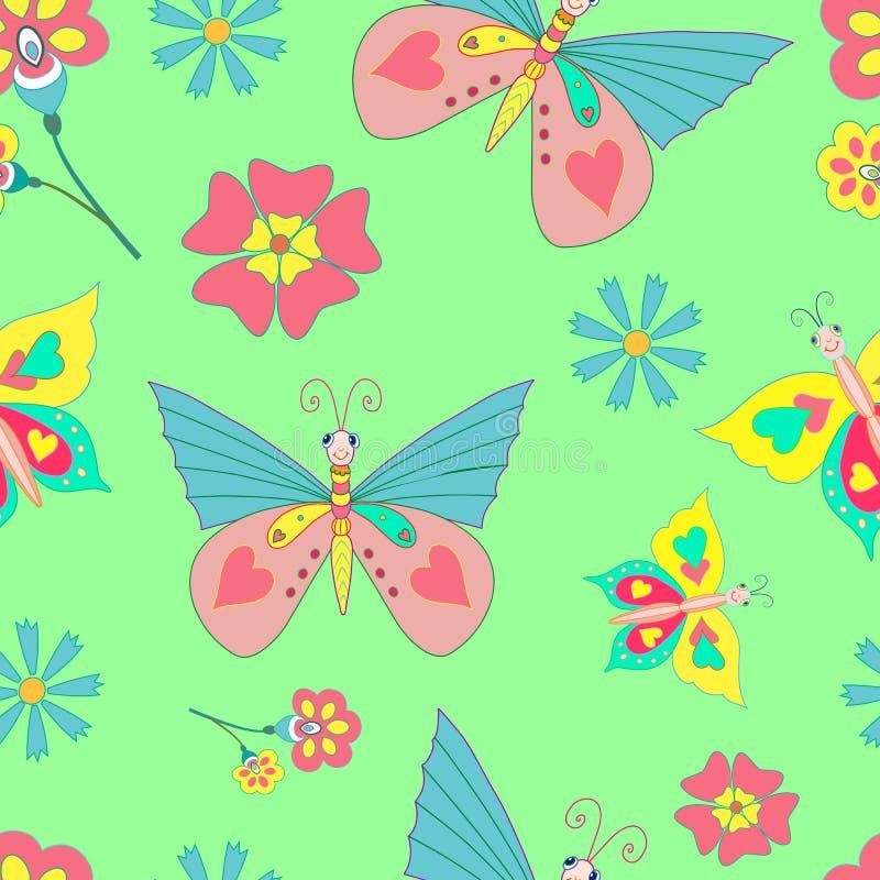 Schmetterlings-und Blumen-hellgrüner Hintergrund stock abbildung