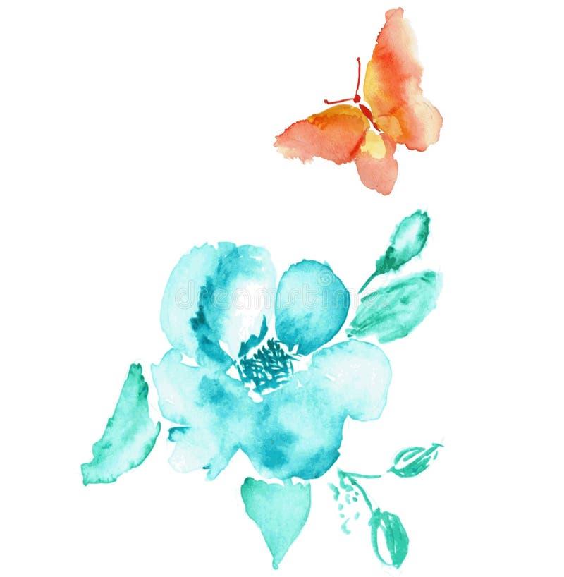 Schmetterlings- und Blumenaquarellzeichnung Vektor stock abbildung