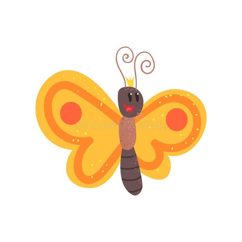 Schmetterlingscharakter-Vektor Illustration der netten Karikatur orange lizenzfreie abbildung