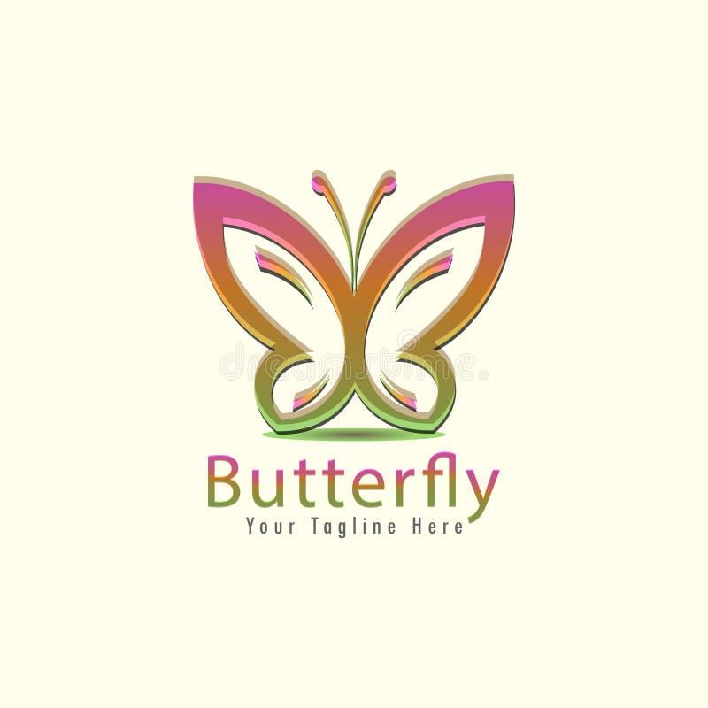 Schmetterlingsfirmenzeichen-Konzept- des Entwurfesschablone stilisierte Geschäftslogoidee auf hellgelbem Hintergrund vektor abbildung