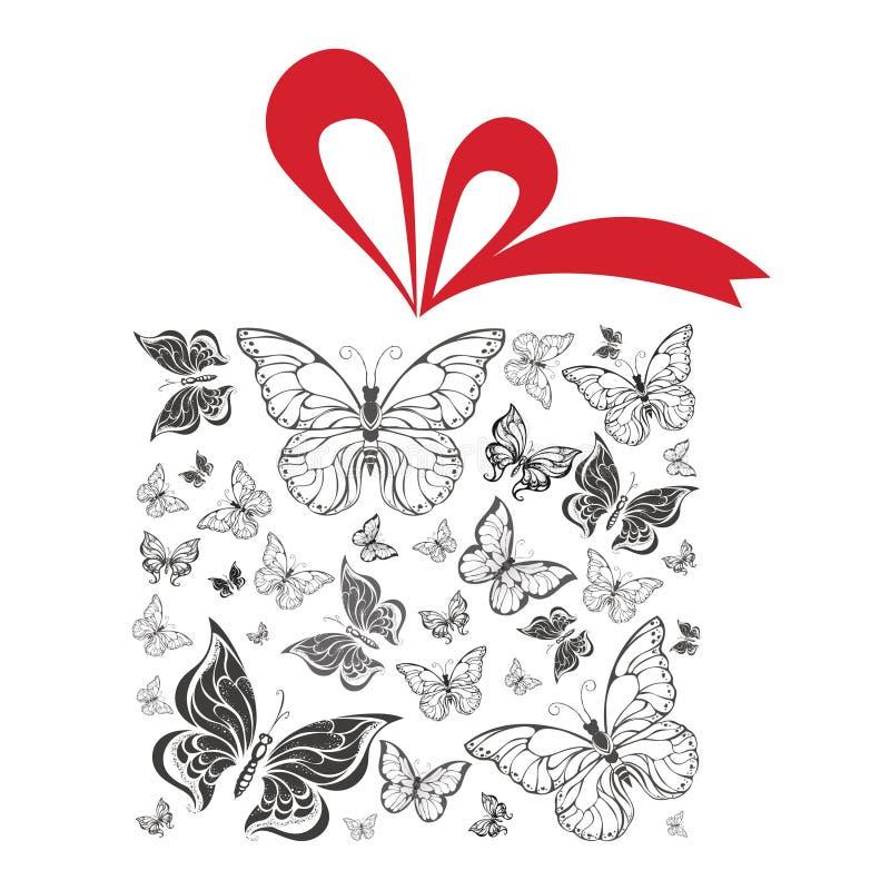 Schmetterlingsgeschenkbox mit roter Bandvektorillustration lizenzfreie abbildung