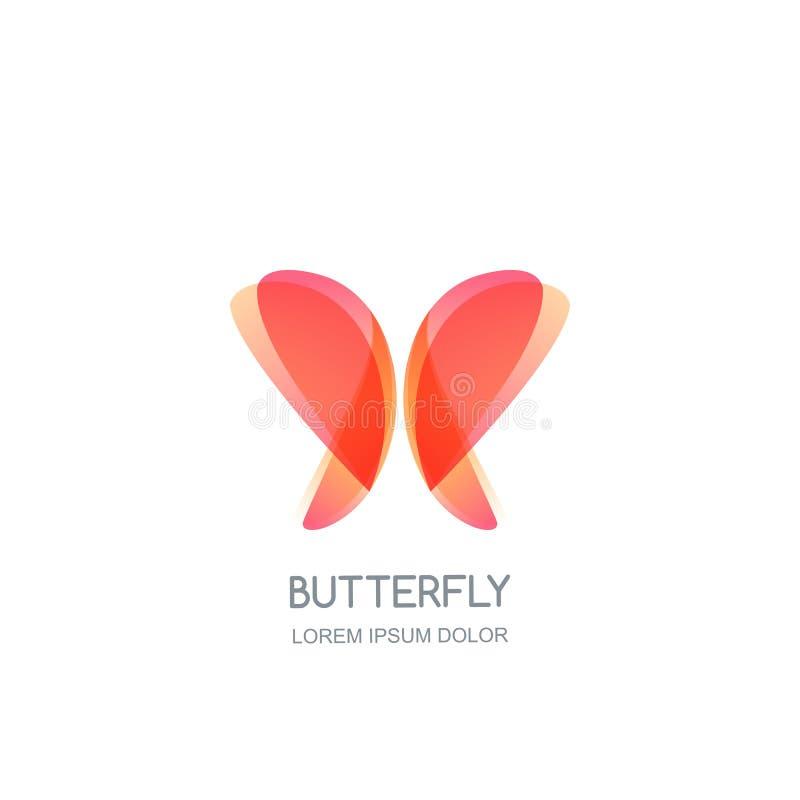 Schmetterlingslogoemblem-Entwurfsschablone Vektorschönheitsikone Badekurortsalon, Kosmetik brennen ein, Schmuck- oder Zusatzkonze lizenzfreie abbildung