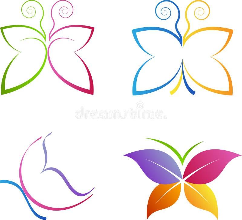 Schmetterlingslogos lizenzfreie abbildung