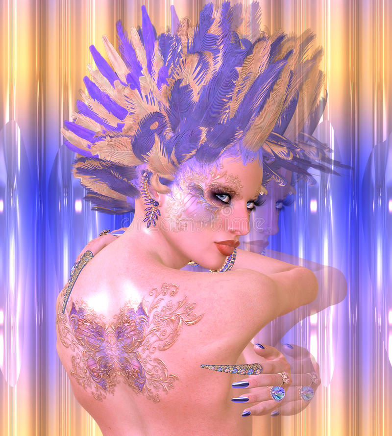 Schmetterlingsmädchen Moderne digitale Kunstschönheit und Modephantasieszene mit Purpur und Goldfedern lizenzfreies stockbild