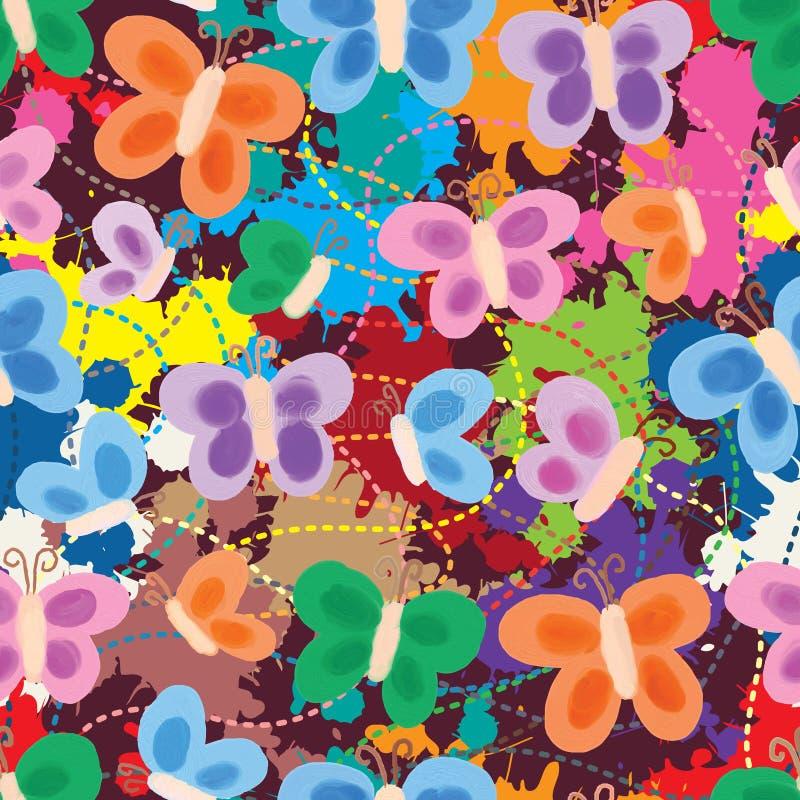 Schmetterlingsmalstil, der nahtloses Muster zeichnet lizenzfreie abbildung