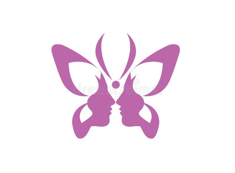 Schmetterlingsschönheit, doppeltes Gesichtsdamenlogo Schmetterling lizenzfreie abbildung