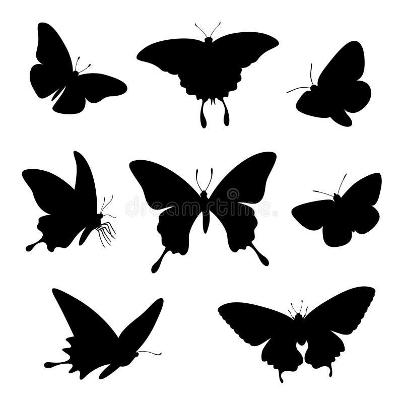 Schmetterlingsschattenbild-Illustrationssatz lokalisiert auf Weiß lizenzfreie abbildung