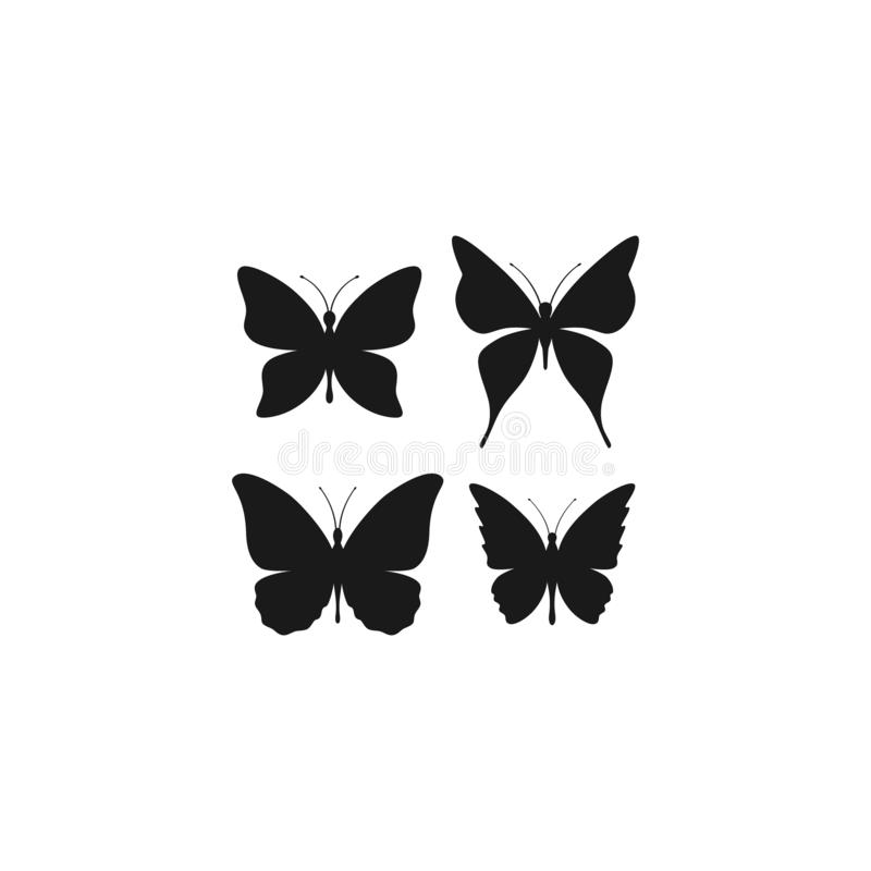 Schmetterlingsschattenbild-Vektorsatz vektor abbildung