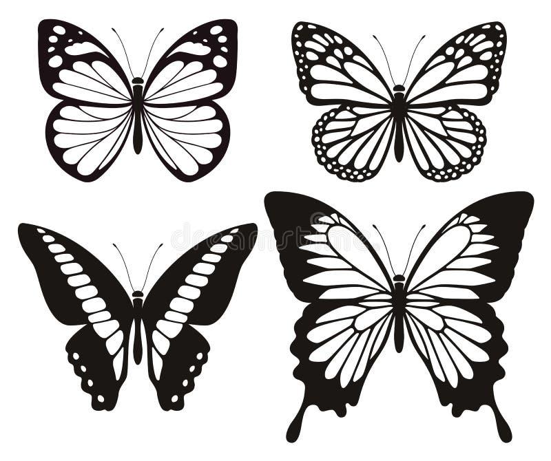 Schmetterlingsschattenbildikonen eingestellt vektor abbildung