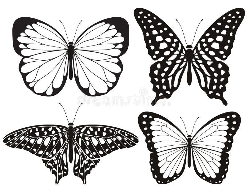 Schmetterlingsschattenbildikonen eingestellt Photorealistic Ausschnittskizze stock abbildung