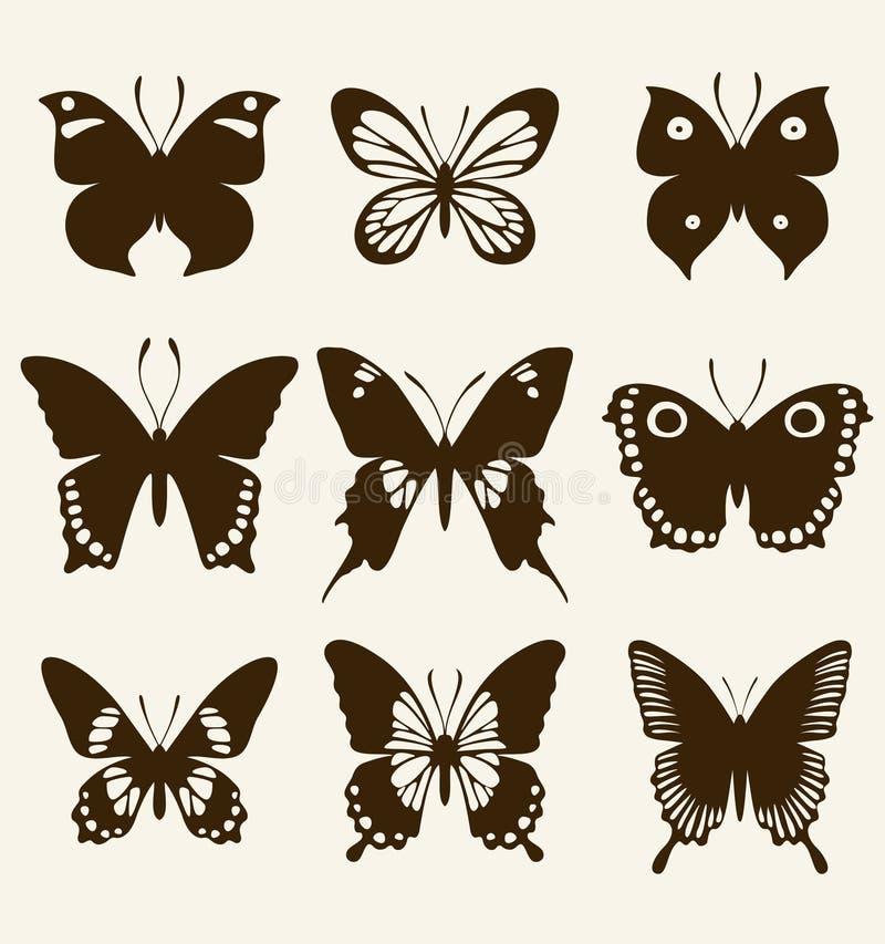 Schmetterlingsschattenbildsatz lizenzfreie abbildung