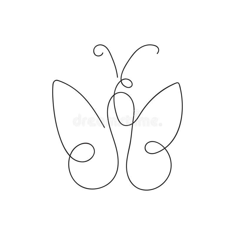 Schmetterlingsskizze, einzelne Zeile vektor abbildung