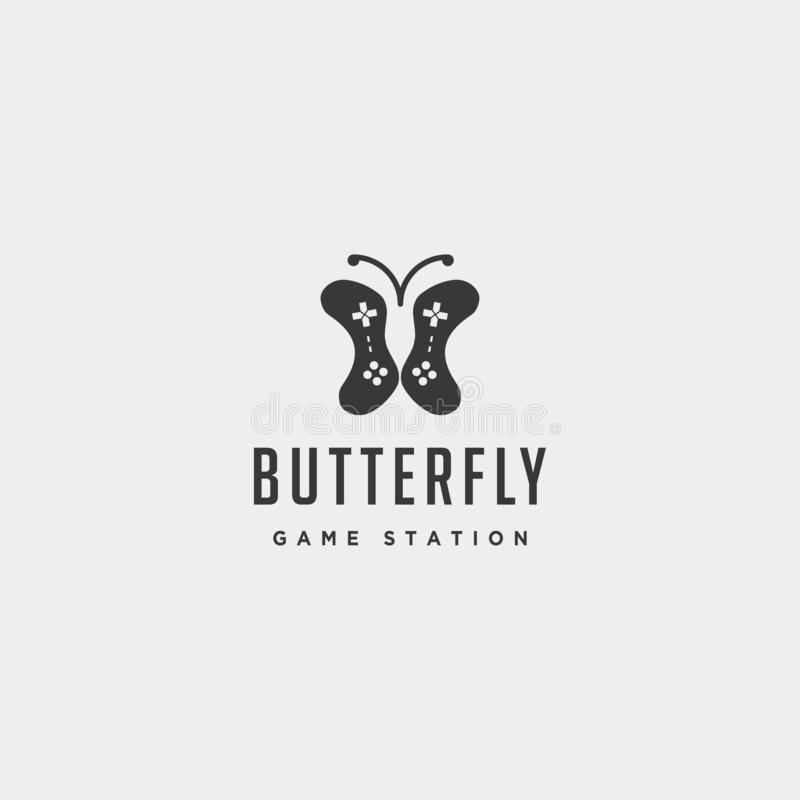 Schmetterlingsspiellogoentwurfsschablonentierkonzeptpr?fer stock abbildung