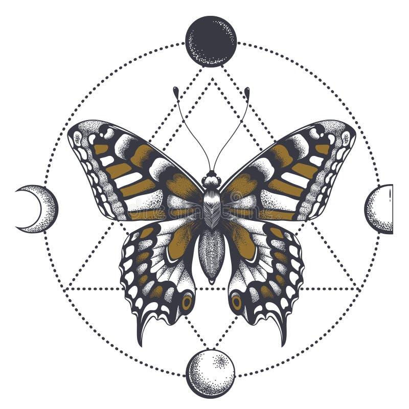 Schmetterlingstätowierung im Dreieck Nachtlandschaft mit Bäumen und Haus lizenzfreie abbildung