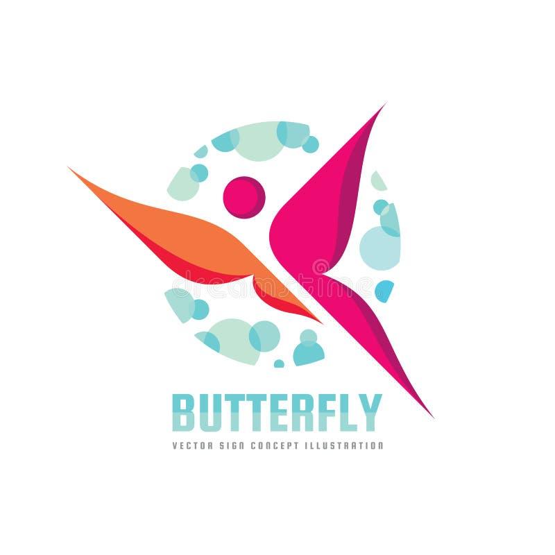 Schmetterlingsvektor-Logoschablone Schönheitssalon - kreative Illustration des Zeichens menschlicher Charakter Abstrakte Ikone vektor abbildung
